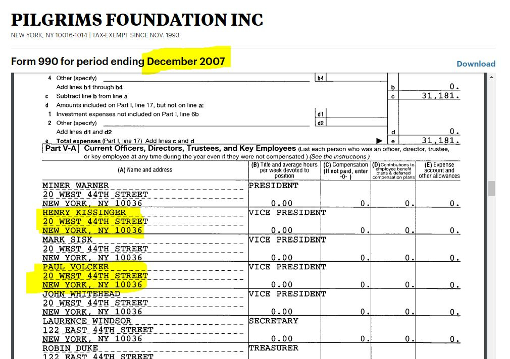 Pilgrims Foundation Inc. Form 990, Dec. 2007