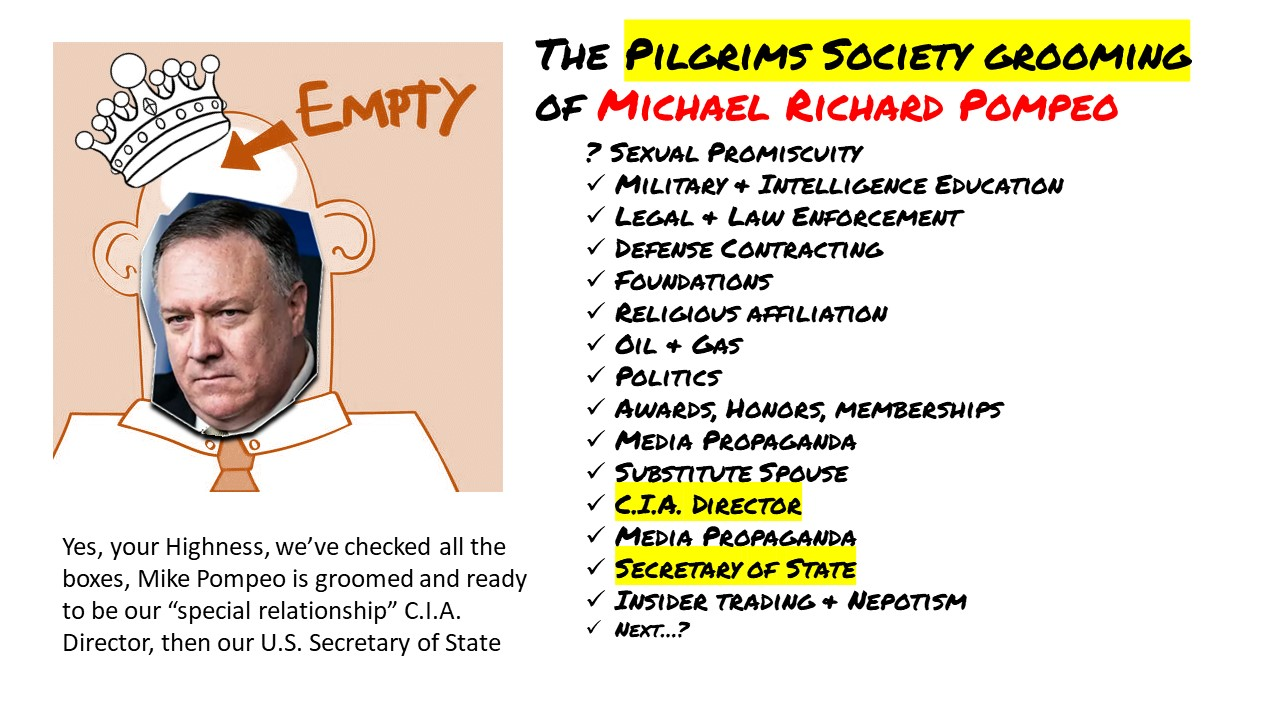 Pilgrims Society grooming checklist for Michael R. Pompeo