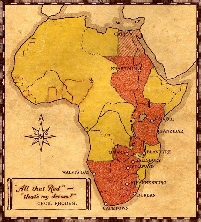 Rhodes' British Empire corridor through Africa