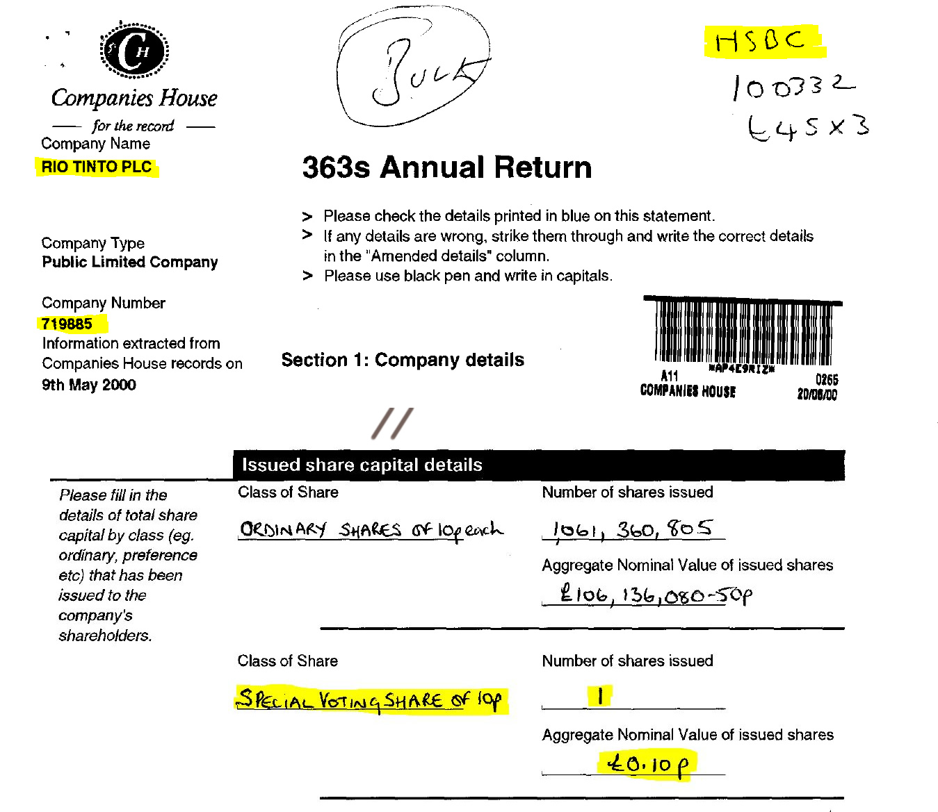Rio Tinto PLC. (Dec. 31, 1999). 2000 Annual Return, Reg. No. 719885. Companies House. Take special note that it appears that HSBC is handling Rio Tinto's corporate filings.