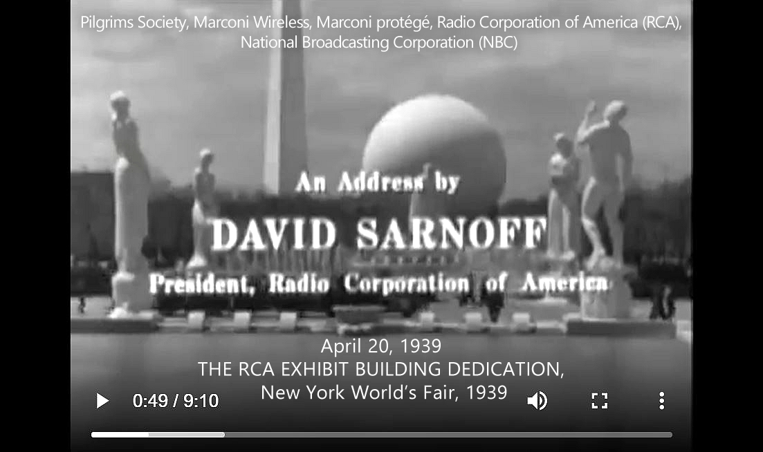 """David Sarnoff. (Apr. 20, 1939). THE RCA EXHIBIT BUILDING, New York World's Fair, 1939, The Birth of an Industry, """"marks the first coverage by television of a news event. RCA."""