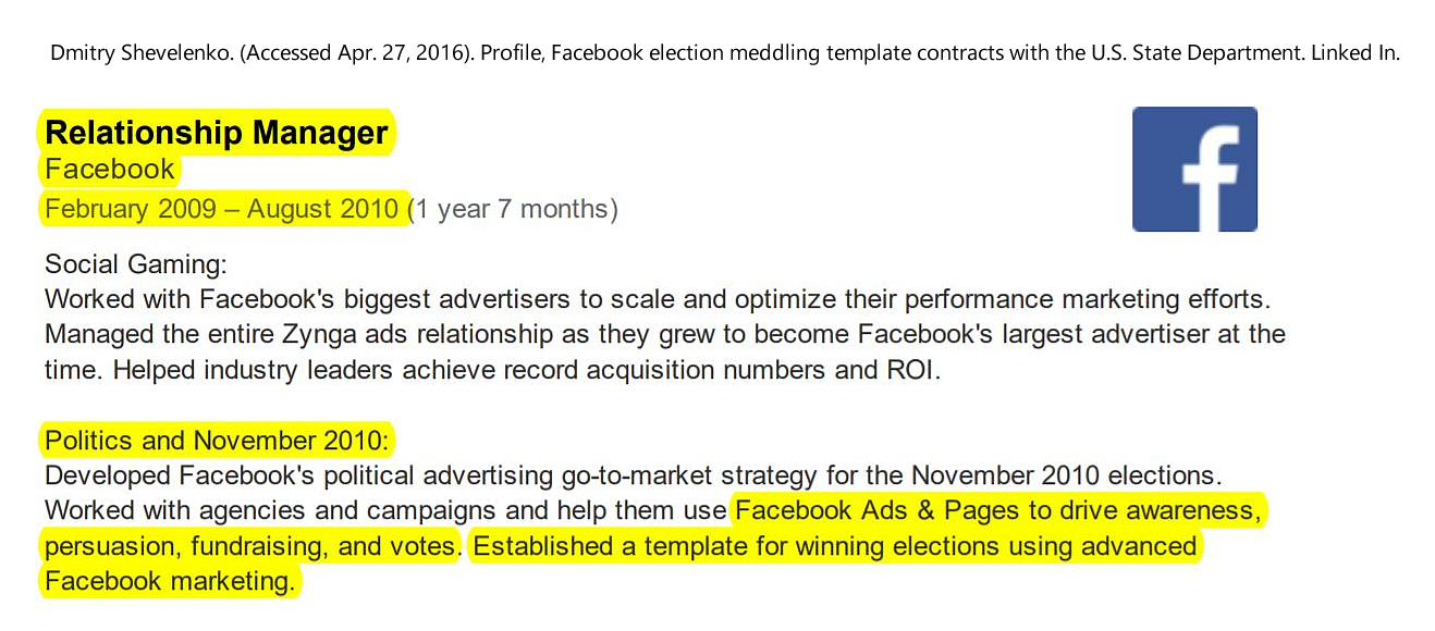 Dmitry Shevelenko. (Accessed Apr. 27, 2016). Profile, Facebook election meddling template contracts. Linked In.