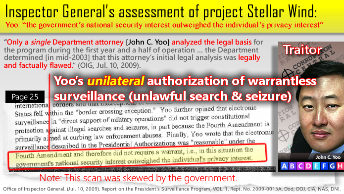 NSA Project Stellar Wind - warrantless mass surveillance of American citizens