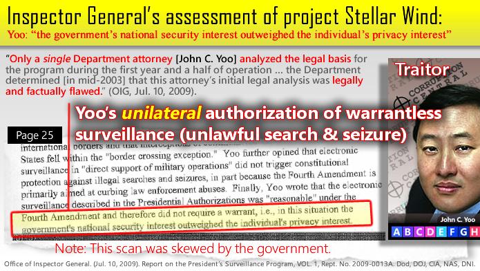 NSA Project Stellar Wind - warrantless mass surveillance of American citizens