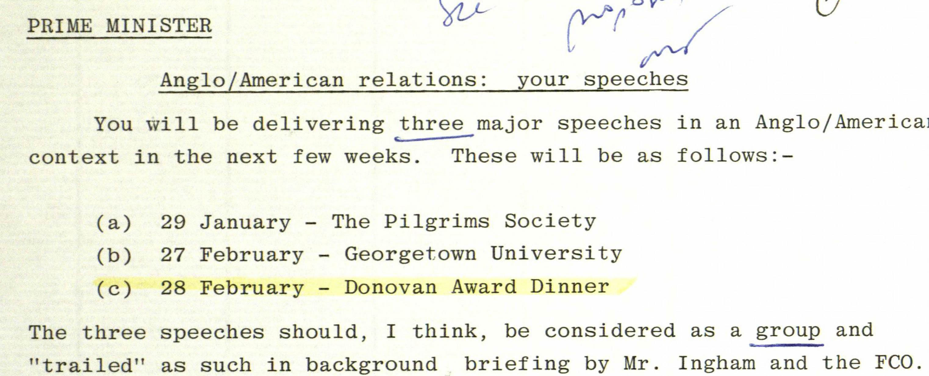 Francis Richards, Foreign and Commonwealth Office (FCO). (Jan. 08, 1981). Prime Minister Margaret Thatcher's Visit to the United States: Georgetown University, U.S. Pilgrims Society, including Donovan Award. 10 Downing Street (UK).