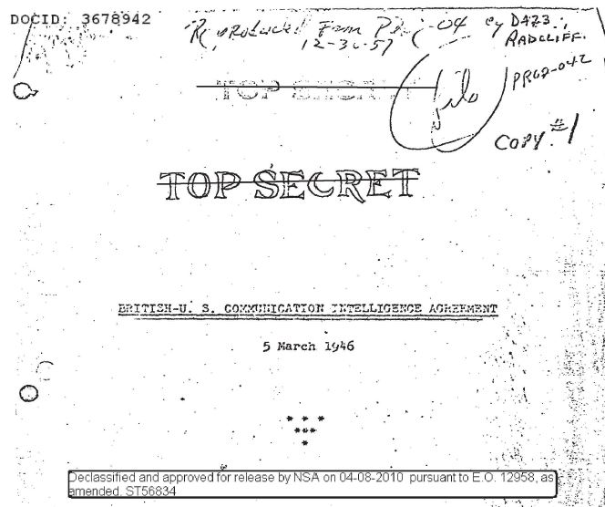 British-United States Communication Intelligence Agreement. (Mar. 05, 1946). History Collection, NSA, Series XILH,. Box 47 (TSC), Declassified and approved for release by NSA on Apr. 08, 2010 pursuant to E.O. 12958, as amended ST56834. DOCID No. 3678942. National Security Agency.