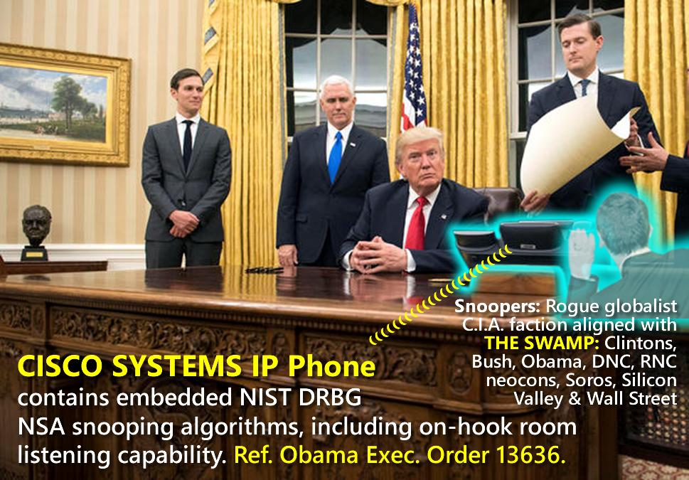Donald Trump is spied upon by his CISCO PHONE on his Resolute Desk in the Oval Office.