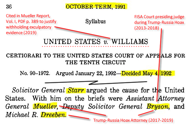 "United States v. Williams, 504 U.S. 36 (1992), p. 2. (""Solicitor General Starr argued the cause for the United States. With him on the briefs were Assistant Attorney General Mueller, Deputy Solicitor General Bryson, and Michael R. Dreeben."")."