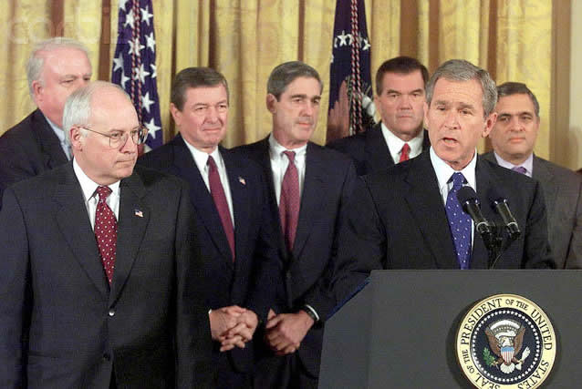 """On Oct. 26, 2001, a 132-page, seemingly ready-made USA PATRIOT Act was approved by an Act of Congress that was signed into law by President George W. Bush on October 26, 2001. With its ten-letter abbreviation (USA PATRIOT) expanded, the full title is """"Uniting and Strengthening America by Providing Appropriate Tools Required to Intercept and Obstruct Terrorism Act of 2001."""""""