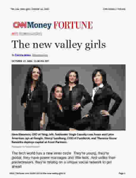 The new valley girls Gina Bianchini, Sukhinder Singh Cassidy, Sheryl Sandberg and Theresia Gouw Ranzetta