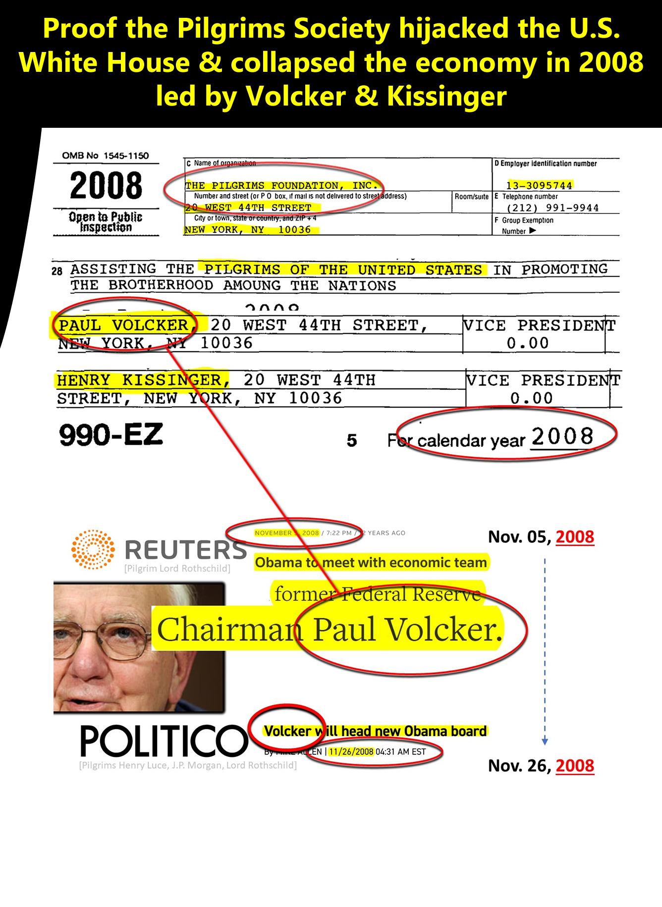 Proof Paul A. Volcker worked seditiously for the Pilgrims Society while advising the Presidency on economic policy.