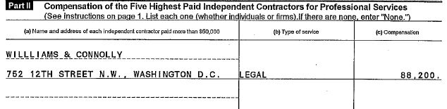 Williams & Connolly represented the Clinton Foundation at inception on Oct. 23, 1997 as evidenced by this Apr. 13, 1999 entry on the IRS Form 990, p. 7