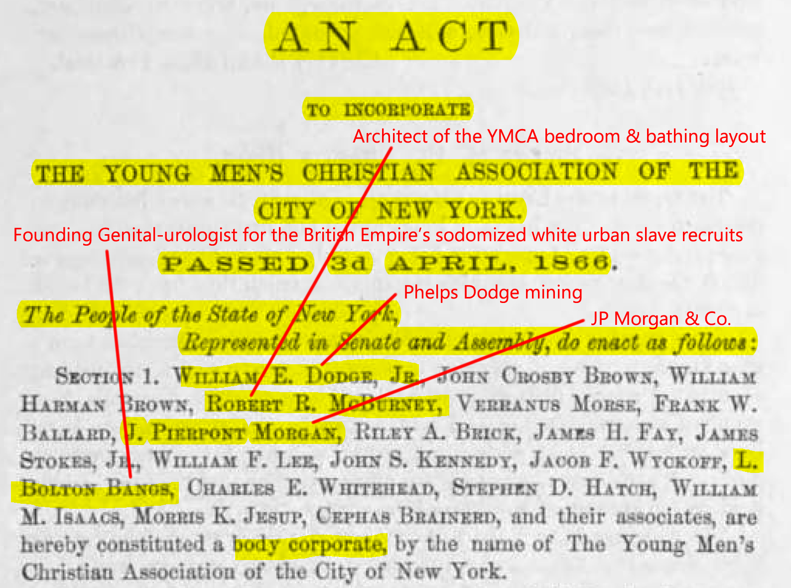 J. Pierpont Morgan (J.P. Morgan), director, treasurer; Elihu Root, committee chairman. (May 15, 1865). YMCA of New York 13th (partial) and 14th (full) Annual Reports, Act of Incorporation, PDF p. 59. University of Minnesota Libraries, Kautz Family YMCA Archives. New York Young Men's Christian Association (YMCA).