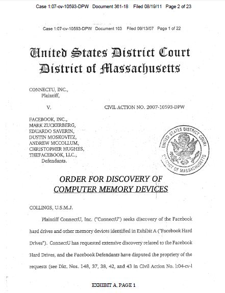 Order of Discovery of Computer  Memory Devices, ConnectU v. Facebook, Zuckerberg et al, Aug. 19, 2011